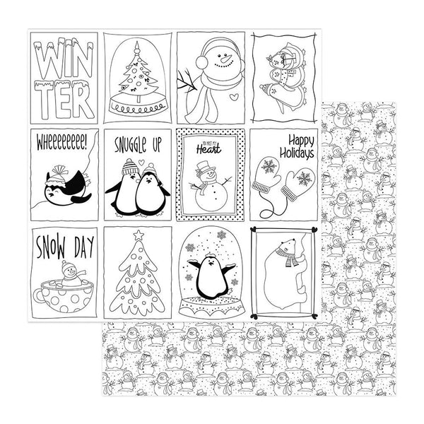 "Frosty Friends Double-Sided Cardstock 12""X12"", Black & White Color Me Cards"