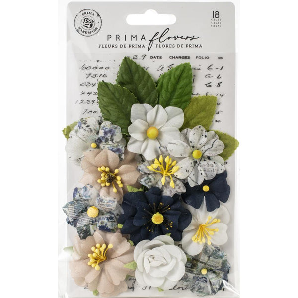 Prima Marketing, Fabric Flowers, Emerson/Georgia Blues, 18/Pkg