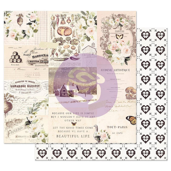 Prima Marketing, Spring Farmhouse Collection,  Foil Double-Sided Cardstock 12X12, Wander