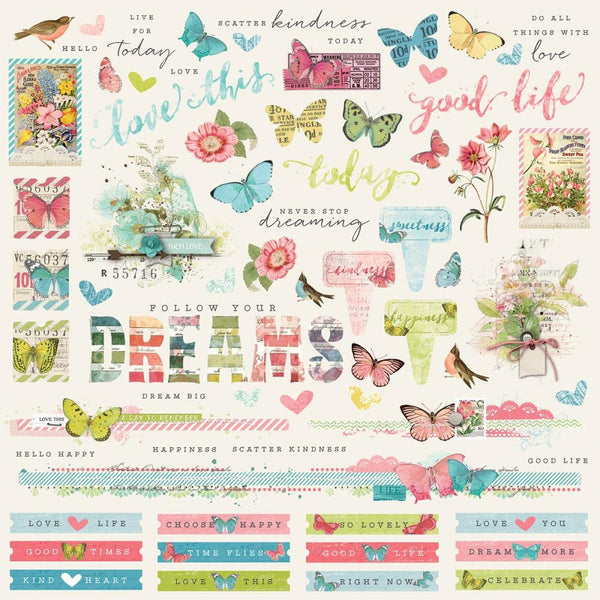 "Simple Vintage Botanicals Cardstock Stickers 12""X12"", Combo"