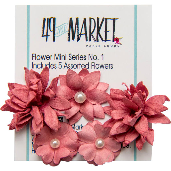 49 And Market Flower Mini Series 01, 5/Pkg, Scarlet