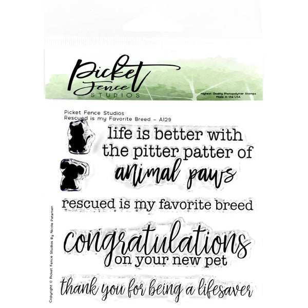 "Picket Fence Studios 4""X4"" Stamp Set, Rescue Is My Favorite Breed"