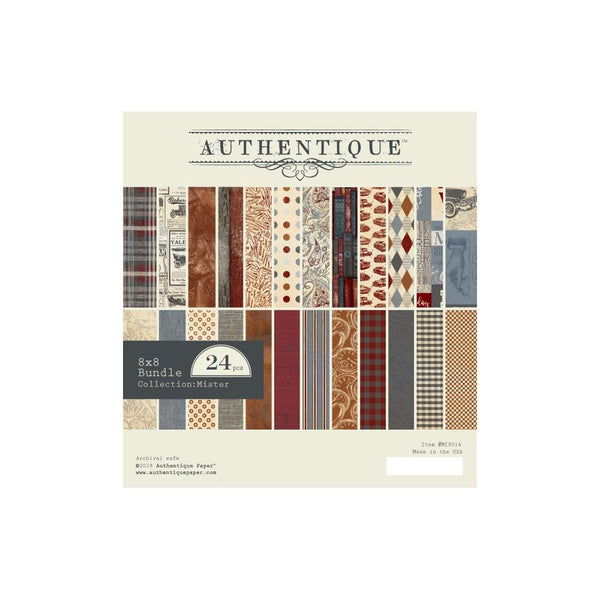 "Authentique Double-Sided Cardstock Pad 8""X8"" 24/Pkg, Mister, 12 Designs/2 Each"