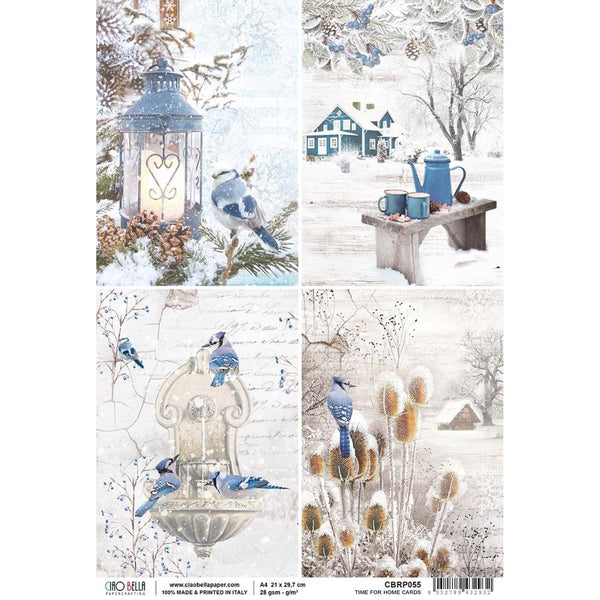Ciao Bella Piuma Rice Paper Sheet A4, Hello Winter, Time for Home Cards