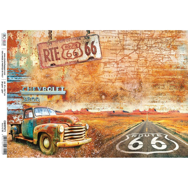 Ciao Bella Rice Paper Sheet A4, Route 66, Collateral Rust