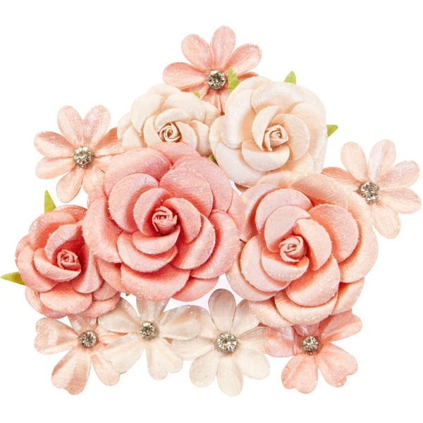 Prima Marketing Mulberry Paper Flowers, Sweet Apricot/Apricot Honey