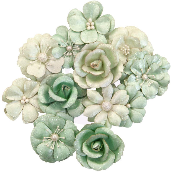 Prima Marketing Mulberry Paper Flowers, Minty Basil/Apricot Honey