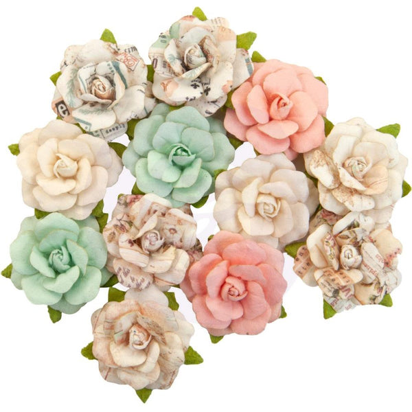 Prima Marketing Mulberry Paper Flowers, Sweet Pickings/Apricot Honey