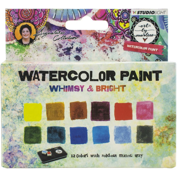 Studio Light Art By Marlene Watercolor Painting Set 12/Pkg, Whimsy & Bright W/Tray