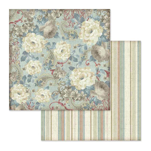 "Stamperia Double-Sided Cardstock 12""X12"", White Flowers Wallpaper"