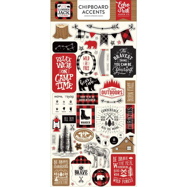 "Echo Park Little Lumberjack Chipboard 6""X13"", Accents"