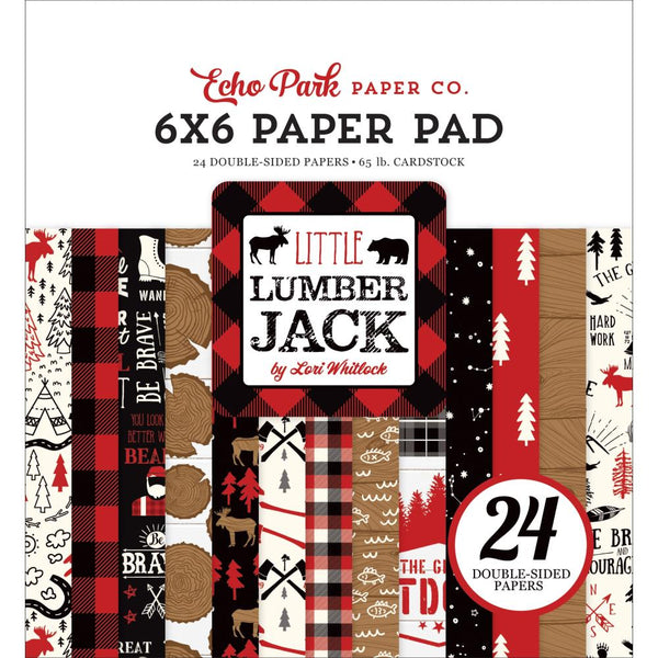 "Echo Park Double-Sided Paper Pad 6""X6"" 24/Pkg, Little Lumberjack, 12 Designs/2 Each"