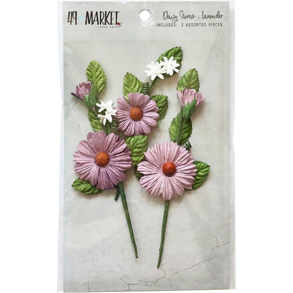 49 And Market Daisy Stems, Cornflower, 3/Pkg, Lavender