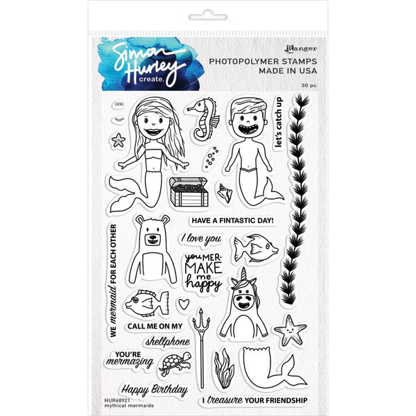 "Simon Hurley create. Cling Stamps 6""X9"", Mythical Mermaids"