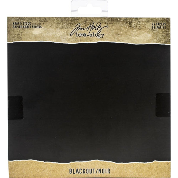 "Tim Holtz Idea-Ology Kraft Stock Cardstock Pad 8""X8"" 24/Pkg, Blackout"