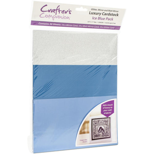 Crafter's Companion Luxury Cardstock Pack, Ice Blue