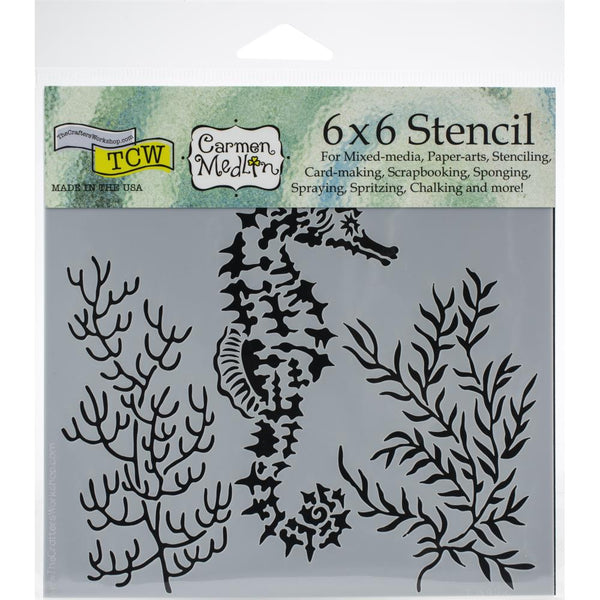 "Crafter's Workshop, Stencil, 6""X6"", Designed by Carmen Medlin, Seahorse"