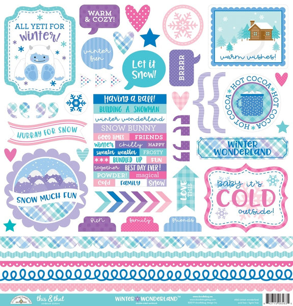 "Doodlebug This & That Cardstock Stickers 12""X12"", Winter Wonderland This & That"