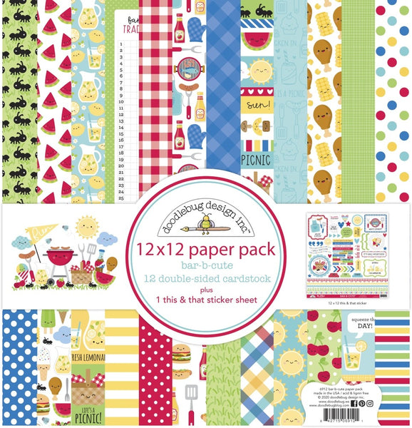 "Doodlebug Double-Sided Paper Pack 12""X12"" 12/Pkg, Bar-B-Cute"