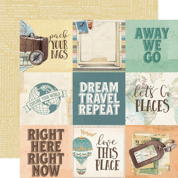 "Simple Vintage Traveler Double-Sided Cardstock 12""X12"", 4""X6"" Elements"
