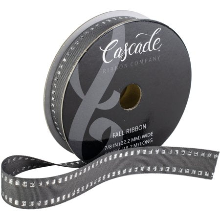 "Cascade Grosgrain Ribbon W/Wired Edge 7/8"" (0.875""), Gray W/Silver Metallic Stripes"