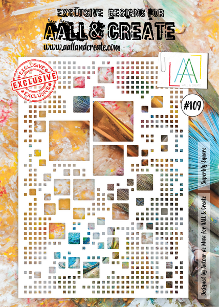 AALL & Create, A4 Stencil, #109, Superly Square, Designed by Autour de Mwa