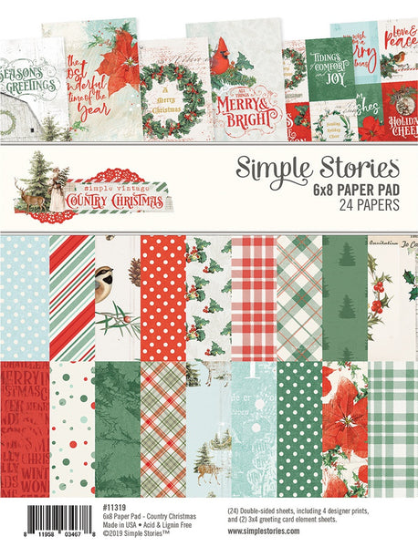 "Simple Stories, Double-Sided Paper Pad 6""X8"" 24/Pkg, Country Christmas, 8 Designs/3 Each"