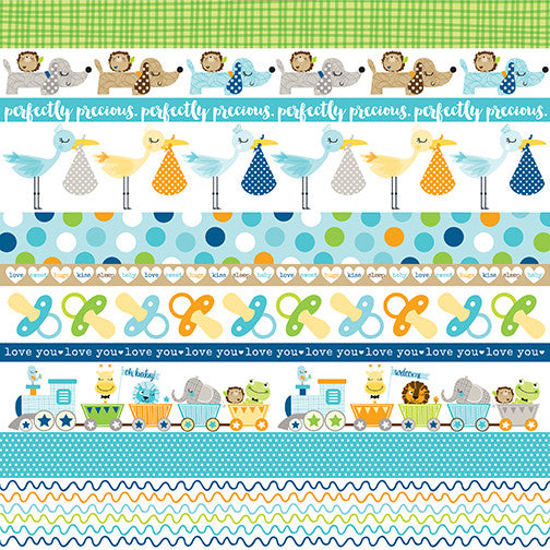 "12"" X 12"" Cute Baby Boy - Borders, Double-sided Paper - Scrapbooking Fairies"
