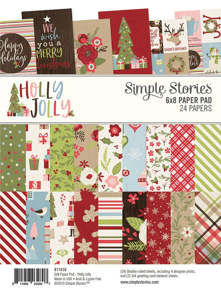 "Simple Stories,  Double-Sided Paper Pad 6""X8"" 24/Pkg, Holly Jolly, 8 Designs/3 Each"