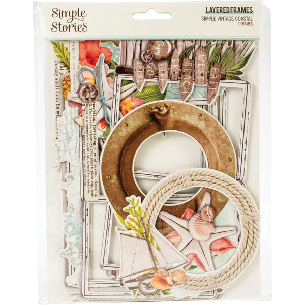 Simple Vintage Coastal Layered Frames Die-Cuts 6/Pkg