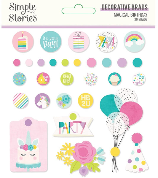 Simple Stories, Magical Birthday Decorative Brads 30/Pkg
