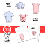 "Art Impressions,  Front-N-Backs Cling Rubber Stamp 7""X4"", Elephant & Pig - Scrapbooking Fairies"
