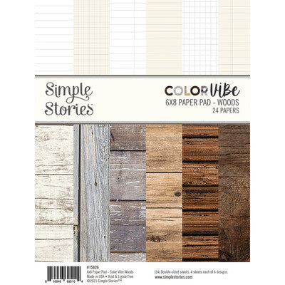 "Simple Stories Double-Sided Paper Pad 6""X8"" 24/Pkg, Color Vibe Woods"