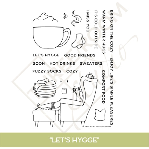 "Three Room Studio, ""Let's Hygge"" Clear Stamp Set"