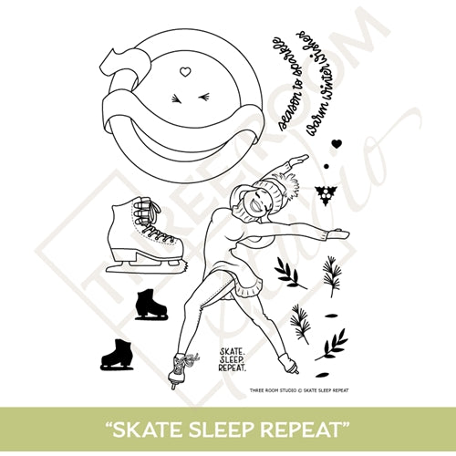 "Three Room Studio, ""Skate, Sleep, Repeat"" Clear Stamp Set"
