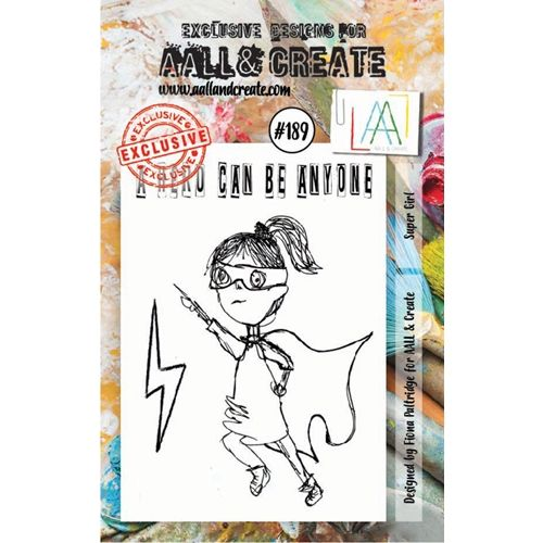 AALL & Create, Super Girl, #189, A7 Clear Stamp, Designed by Fiona Paltridge