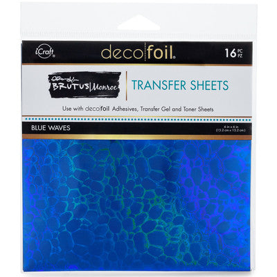 "iCraft, Therm-O-Web, Deco Foil, 6""x6"" Transfer Sheets, Blue Waves"
