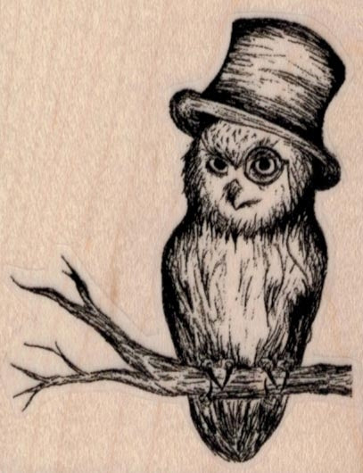 Wooden Stamp, Owl in Hat