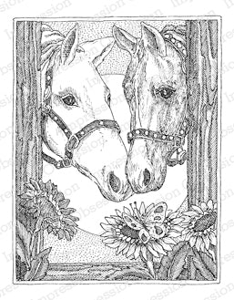 Impression Obsession, Two Horses, Wood Stamp