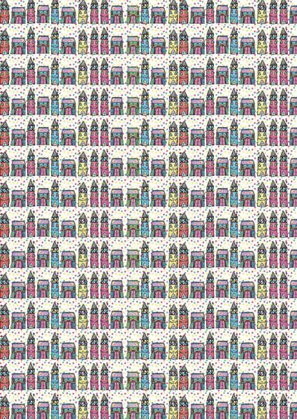 "ZinskiArt, 8.25"" x 11.75"" Cardstock, Small Houses Pattern"