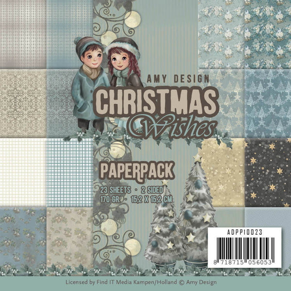 "Find It Trading Amy Design Paper Pack 6""X6"" 23/Pkg, Christmas Wishes, Double-Sided"