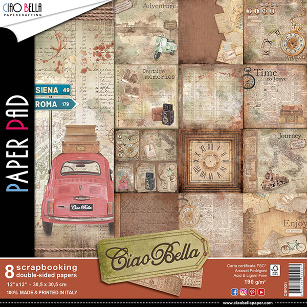 "Ciao Bella, Double-Sided Paper Pad, Ciao Bella, 12""x12""/8pkg"