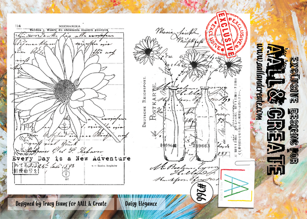 AALL & Create, #266, Daisy Elegance, Clear Stamps, Designed by Tracy Evans