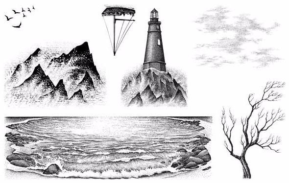 Stampscapes, Nature Sheet 12 (Lighthouse Sm.), Cling Mounted Stamps