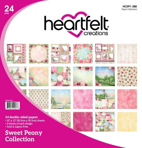 "Heartfelt Creations Double-Sided Paper Pad 12""X12"" 24/Pkg, Sweet Peony Collection"