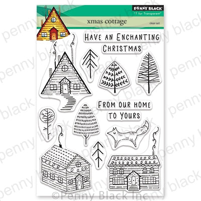 "Penny Black, ""T for Transparent"", Xmas Cottage, Clear Stamps"