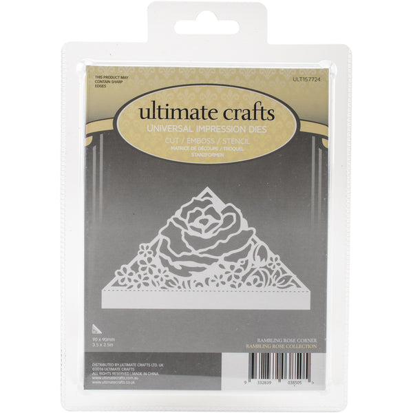 "Ultimate Crafts,  Rambling Rose Die Rambling Rose Corner 3.5""X3.5"" - Scrapbooking Fairies"