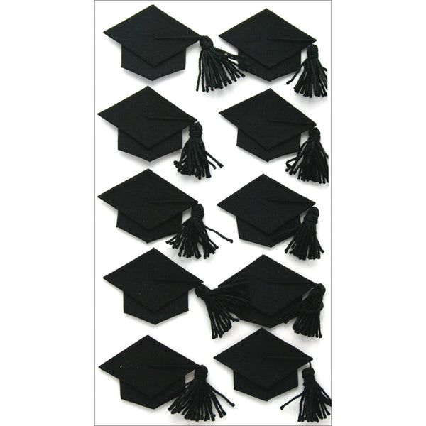 Jolee's Boutique Dimensional Stickers, Black Graduation Caps