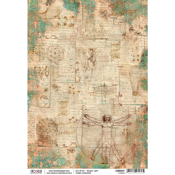 Ciao Bella Piuma Rice Paper Sheet A4, Codex Leonardo, I Codici