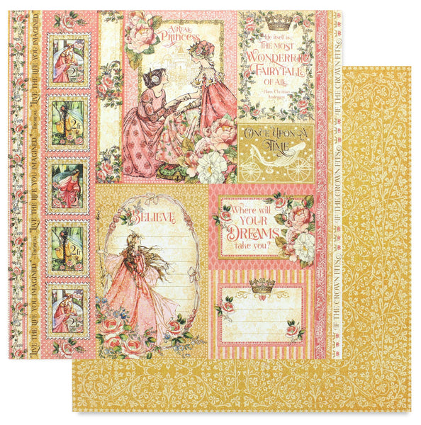 "Graphic 45, Princess Double-Sided Cardstock 12""X12"", Beautiful Maiden"